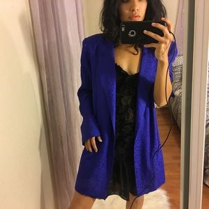vintage liz claiborne cobalt blue oversized blazer